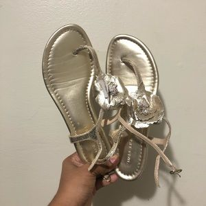 Marc Fisher Gold Leather Flower Sandals